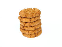 Ginger nut biscuits. Stack of biscuits royalty free stock image
