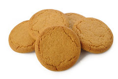 Ginger nut biscuts on white Royalty Free Stock Image