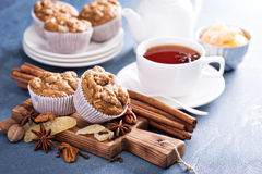 Ginger and nut streusel muffins with winter spices Stock Image