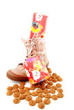 Ginger nuts and presents in shoe Stock Photo
