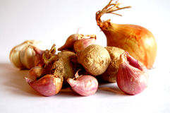 Ginger onion garlic. Foundational ingredients in cooking royalty free stock photos