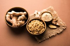 Ginger paste / puree or powder / sunth / sonth, selective focus Stock Photography