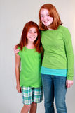 Ginger Preteens. Two pretty red haired girls with freckles Royalty Free Stock Photos
