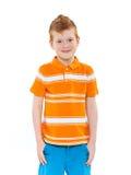 Ginger red hair boy. Ginger red hair haired boy. Isolated on white background Royalty Free Stock Photo