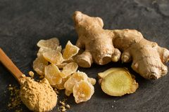 Ginger root, candied and ginger powder stock photo