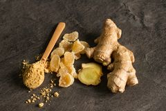 Ginger root, candied and ginger powder stock photography