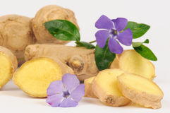 Ginger root. And cisterns from the root of a white background stock photos