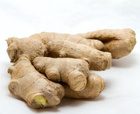Ginger root closeup. On white background Stock Image