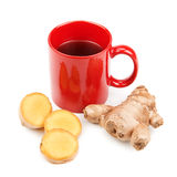 Ginger root and a cup of tea Stock Images