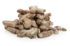 Ginger root dry. Collection of dry Ginger root isolated over white background Stock Images
