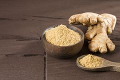 Ginger root and ginger powder. Zingiber officinale royalty free stock photos