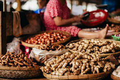 Ginger root and herbs at asian steet market Royalty Free Stock Image
