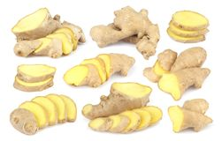 Ginger root isolated on white background. Collection Royalty Free Stock Photos