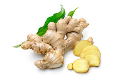 Ginger root with leaves Royalty Free Stock Image