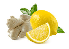 Ginger root and lemon whole quarter isolated on white background Royalty Free Stock Photo