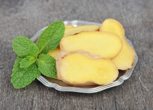 Ginger root with mint Royalty Free Stock Image