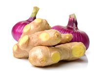 Ginger root, onion stock image