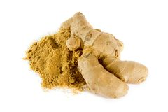 Ginger root and powder Royalty Free Stock Photography