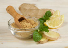 Ginger root and powder Stock Photography