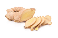 Ginger root slices isolated on white background Stock Photos