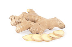 Ginger Root and slices (Zingiber officinale) Stock Photography