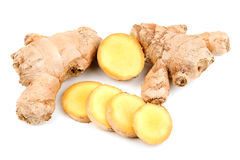 Ginger root. On white background Royalty Free Stock Photography