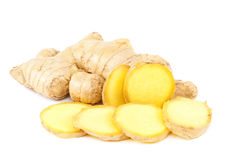 Ginger root on white background. Stock Images