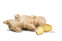 Ginger roots isolated Royalty Free Stock Images
