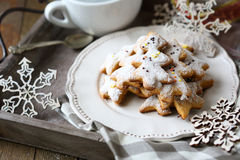 Ginger shortbread biscuits on a plate, Christmas parties Stock Photos