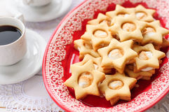 Ginger Shortbread Stars with Marshmallow Filling Stock Image