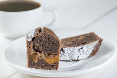 Ginger slice of cake with coffee Stock Image