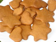 Ginger snap. Holidays ginger snaps on the dinner plate Royalty Free Stock Images