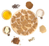 Ginger snaps with ingredients on white background royalty free stock photos