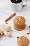 Ginger snaps on white Royalty Free Stock Photography