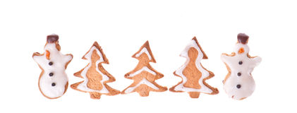 Ginger snowman and tree Stock Photography