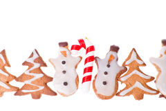 Ginger snowmen with christmas decoration Stock Photography