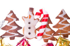 Ginger snowmen with christmas decoration Stock Photo