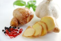 Ginger and spices Royalty Free Stock Photo