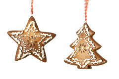 Ginger star and tree decoration Royalty Free Stock Photo
