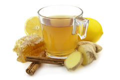 Ginger tea. With lemon and honey stock image
