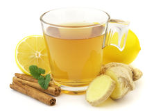 Ginger tea. Healthy ginger tea with lemon and cinnamon stock photos