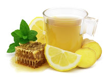 Ginger tea. Tea with ginger lemon and honey royalty free stock photography