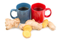 Ginger and  tea. Ginger root and ginger tea Royalty Free Stock Image