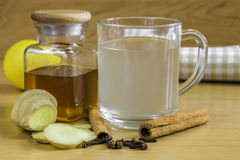 Ginger tea and ginger, cloves, lemon, honey and cinamon Royalty Free Stock Photography