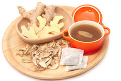 Ginger tea and ginger root Royalty Free Stock Images