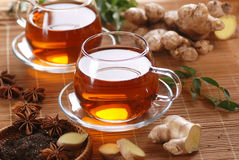 Ginger tea in glass cup Stock Image