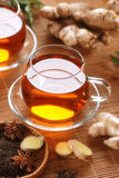 Ginger tea in glass cup Royalty Free Stock Photo