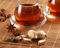 Ginger tea in glass cup Royalty Free Stock Image