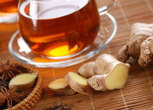 Ginger tea in glass cup Royalty Free Stock Photography
