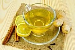 Tea ginger on a napkin burlap Royalty Free Stock Image
